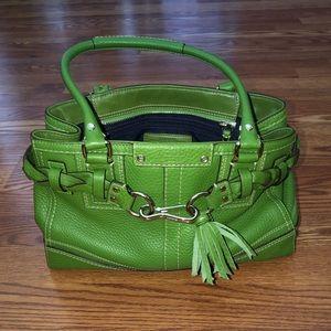 Coach Hampton braid green pebble leather handbag